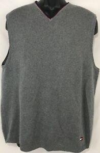 Vintage Tommy Hilfiger Sleeveless Sweater Vest Gray Flag Logo Mens Large