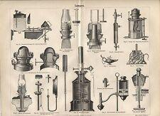 """Lamps (""""Lampen""""). Antique German 1888 print."""