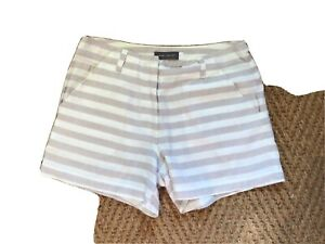 Mint Velvet Womens Striped Linen Shorts Size 8 Vgc