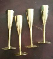 Mid Century Brass Lined Cordial Glasses Set of 4 Made in Germany