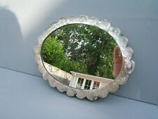 "oval vintage wall mirror silver  frame unusual beautiful design 9.5"" x 7   MO2"