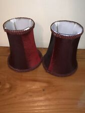 "Chandelier Mini Lamp Shades,5 1/2"" Bell Silk,Burgundy, Braid Trim,Set of 2"