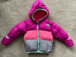 The North Face Toddler Reversible Puffer 550 Down Coat Jacket Girls 12-18 Months