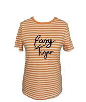Oliver Bonas Orange Stripe 'Easy Tiger' Logo Basic T Shirt Size 10