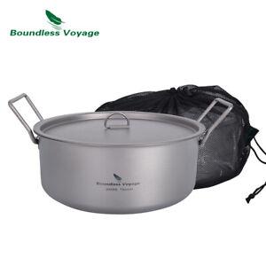 Outdoor Camping Titanium Pot 2L Stockpot with Lid Folding Handle Soup Pot