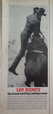 1962 Lee Riders Blue Jeans Rodeo Riding Cowboy Lass and Hat Original Ad
