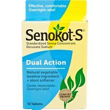 Senokot-S Dual Action Natural Vegetable Laxative I Tablets, 10 Ct each exp11/22