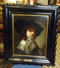 Antico dipinto originale epoca 700 olio su tela Fiammingo ritratto quadro canvas