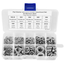 Resistant Finish Stainless Steel Assortment Set 7 Sizes Flat/Spring Washer Lock