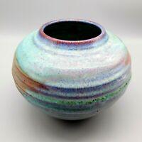 Jim Weber Ware Signed Studio Art Drip Glaze Pottery Ribbed Bowl Vase Planter