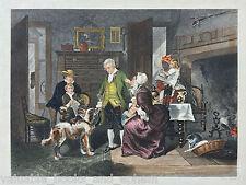c1867 Antique Engraved Print George Washington Royal Navy Mother Midshipman