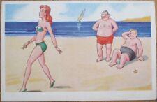 Bathing Beauty 1940s Risque Postcard-Men Watching Cigarette-Smoking Woman, Beach