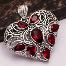 "Mozambique Garnet Ethnic Handmade Heart Pendant Jewelry 2.2"" AP 18436"