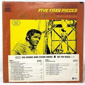 """JACK NICHOLSON Signed Autographed """"FIVE EASY PIECES"""" Soundtrack Album LP BAS"""