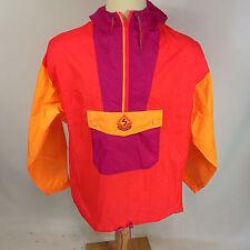 Vintage Surf Ski Scuba Volleyball Light Windbreaker Jacket Coat Medium Neon Run