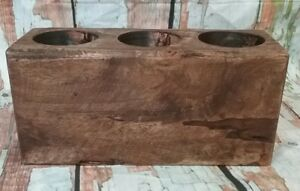 Brand New Three (3) Hole Brown Wooden Sugar Mold Candle Holder