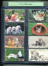 JAPAN USED PHONE CARDS * 8 PCS CATS & DOGS # JP37