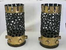 Pair Of Vintage Metal Trench Art Vases Artillery Shells Reticulated