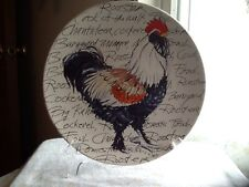 Rooster Plate Ten Inch Santa Barbara Hand Painted White Plate