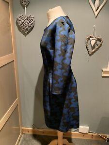 Sisley Blue & Black Shift Dress Size M