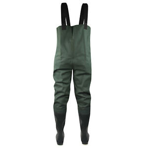 Pro Line Twin River 2-Ply Felt Outsole Bootfoot Chest Waders (9)- Dark Green