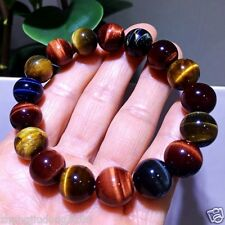 Gemstone Beads Ms Jewelry Bracelet 12mm Natural Colorful Tiger Eye Stone