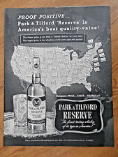 1952 Park & Tilford resereve Whiskey Ad Compare Prices U. S. Map Theme