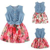 Summer Kids Baby Girls Denim Floral Princess Dress Party Sleeveless Tutu Dresses