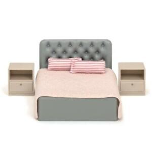 Lundby Basic Double Bed & Bedside Tables Dolls House Bedroom Furniture Set