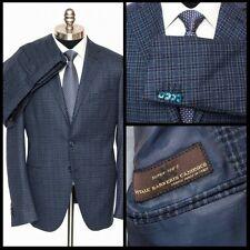 SARTORE Blue Tartan Vitale Barberis Canonico Super 120s Wool Suit 52 7 42 R NWT!