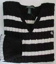 NWT LRL Ralph Lauren Cable V-Neck Pullover Knit Sweater Black/Ecru Size XL