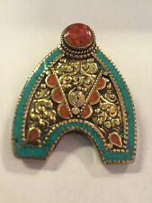 Tibetan Buddhist Turquoise Coral Pewter Pendant Necklace Locket Handmade Nepal 2
