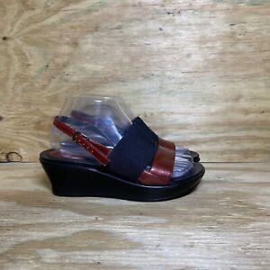 Dansko Wedge Heel Strap Buckle Sandals, Women's Size 6.5-7 / EU 37, Black / Red