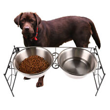 Stainless Steel Pet Cats Dogs Elevated Double Bowl Diner Feeder Dish Large Home