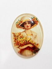 4 of 40x30 mm Classic Vintage Acrylic Woman Cameos with Bouquet Flowers Colorful