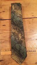 Vintage 1970 Tie Rack Green Gold Stripe Suit Mens Neck Tie Free Shipping