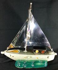 Vtg 50s Ceramic Green Chrome Light Sail Ship Nautical Yacht Lamp Works