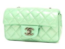 CHANEL - VTG Mint Green Quilted Patent Leather Mini CC Crossbody Chain Flap Bag