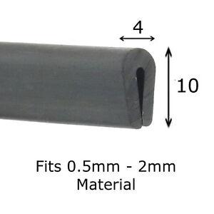 Black Rubber U Channel Edging Trim Seal 10mm x 4mm fits 0.5mm - 2mm