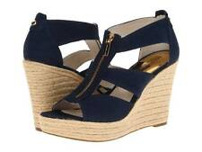 NWB Michael KORS Damita Wedge Heels Canvas ZipUp Strappy Sandals NAVY 9 MSRP$125