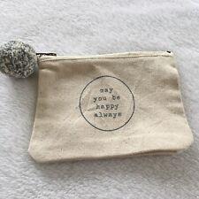 Mud Pie Small Canvas Bag Phrase Zipper Pouch