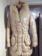 MAXMARA fox fur collar cream padded jacket uk12 excellent condition