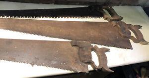 Vintage Hand Saws Wooden Handles X 3