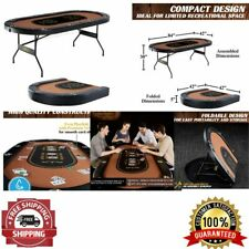 Folding Poker Table Playing Card Game Tournament Board Compact Size 10-Player