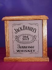 Jack Daniel's Tennessee Whiskey Label Nightlight Box Etched Glass Oak Wood Made
