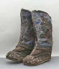 Antique Chinese Qing Dynasty Embroidered Bound Feet Winter Boots Circa 1800s