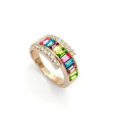 ITALINA 18K ROSE GOLD PLATED MULTI-COLOURED GENUINE CUBIC ZIRCONIA RING 8.5