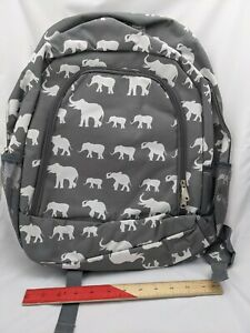 Full Size Grey Backpack with White Elephants Zipper Closure, Pockets, Adjustable