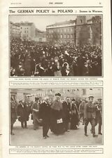 1918  ANTIQUE PRINT- WW1 -THE GERMAN POLICY IN POLAND : SCENES IN WARSAW