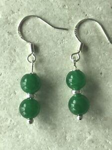 Genuine Green Jade Earrings - 925 Sterling Silver - Gift Bag - Free P&P